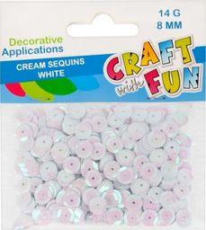 Craft with Fun CF CEKINY KREM GUZIK 8MM BIALE PBH 40/400