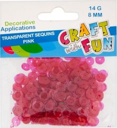 Craft with Fun CF CEKINY TRANSPARENT GUZIK 8MM ROZOWY 40/400