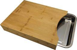 Deska do krojenia KingHoff z tacą na okruszki bambusowa 35.5x25.6cm