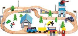 Bino Kolejka drewniana z posterunkiem policji i lokomotywą na baterie 80 elementów