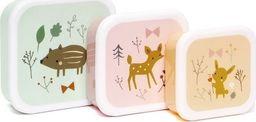 Petit Monkey Petit Monkey - Zestaw 3 śniadaniówek lunchbox Przyjaciele z lasu