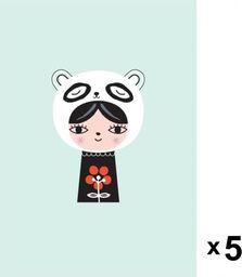 Petit Monkey Petit Monkey - Miss Panda zaproszenia urodzinowe zestaw 5 szt.