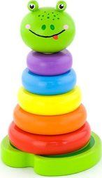 Viga Edukacyjna Zabawka Drewniana Piramidka Nauka Kolorów Żabka