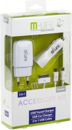 Zestaw ładowarek M-Life ładowarka sieciowa USB 1A i ładowarka samochodowa 2.1A + kabel USB (ML0606)
