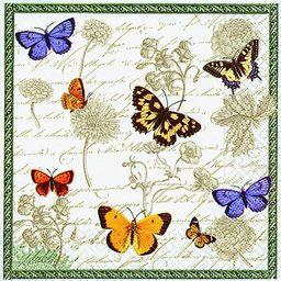 GOMAR Serwetki Lunch Vintage butterflies 33x33 / 21647