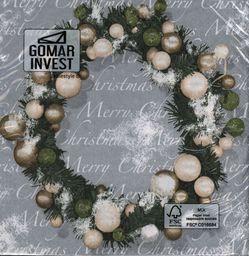 GOMAR Serwetki Lunch 33x33 Christmas wreath