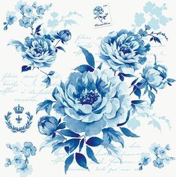 GOMAR Serwetki Lunch Romantic flower blue 33x33 / SK0125_1