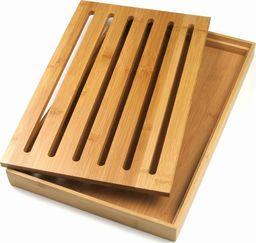 Deska do krojenia KingHoff z tacą na okruszki bambusowa 38x23.5cm
