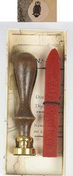Rubinato Stempel mosiężny z drewnianą rączką w zestawie z lakiem w etui SOWA 7629
