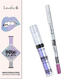 Lovely LOVELY_Holo Lips Liquid Lip Topper & Lip Pencil wielofunkcyjny zestaw do makijażu ust 2 Unicorn Paradise