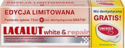 Lacalut  Pasta do zębów White&Repair 75ml + nić dentystyczna
