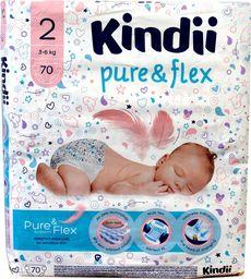 Kindii Kindii Pure & Flex Pieluchy jednorazowe 2 (3-6kg)  1op.-70szt