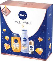 Nivea Nivea Zestaw prezentowy Touche of Gold (olejek p/prysznic 250ml+deo roll-on Invisible 150ml+olejek 200ml)