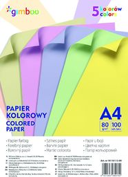 Gimboo Papier ksero A4 80g mix kolorów 100 arkuszy