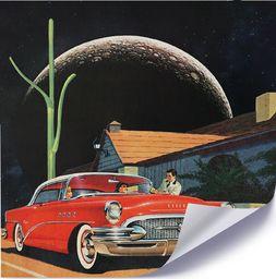 Feeby Plakat, Czerwony samochód i księżyc 40x40