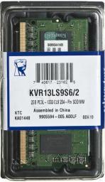 Pamięć do laptopa Kingston DDR3L SODIMM 2GB 1333MHz CL9 (KVR13LS9S6/2)
