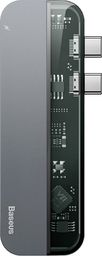 Stacja/replikator Baseus Baseus wielofunkcyjny HUB 2x USB Typ C na USB Typ C PD (60W in) / USB Typ C (15W out) / HDMI 4K / 2x USB 3.0 do MacBook Pro szary (CAHUB-TS0G) uniwersalny