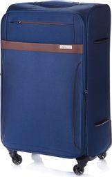 Solier Duża walizka miękka XL Solier STL1316 granatowo-brązowa uniwersalny