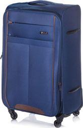 Solier Średnia walizka miękka M Solier STL1311 granatowo-brązowa uniwersalny