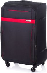 Solier Średnia walizka miękka M Solier STL1316 czarno-czerwona uniwersalny