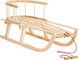 ENERO  Sanki drewniane Nina z oparciem beżowe