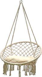 Saska Garden hamak ażurowy fotel wiszący 80 x 60 cm z poduszką Ecru uniwersalny (245640)