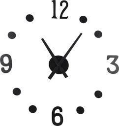 Segnale zegar ścienny czarny 40cm nowoczesny 3D naklejany uniwersalny (5012)
