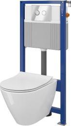 Zestaw podtynkowy Cersanit SET B324 stelaż Aqua + miska WC City Oval Clean-On + deska duroplastowa wolnoopadająca + przycisk Accento chrom (S701-324)