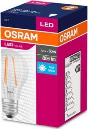 Ledvance Żarówka OSRAM LED Filament VALUE ClasA  230V 7W 840 E27 noDIM A++ Sklo čiré 806lm 4000K 10000h