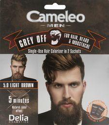 Delia Delia Cosmetics Cameleo Men Krem koloryzujący do włosów,brody i wąsów nr 5.0 Light Brown  15mlx2