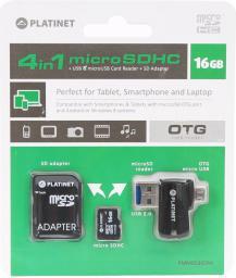Karta Platinet MicroSDHC 16 GB  (PMMSD16CR4)