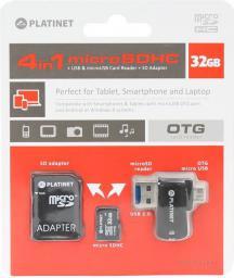 Karta Platinet MicroSDHC 32 GB  (PMMSD32CR4)