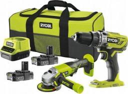 Ryobi zestaw powerpack 18V R18PDAG-220S R18PD3+R18AG 2x2,0Ah + torba (5133003766)