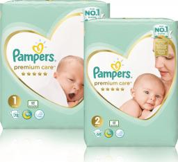 Pampers Pieluchy Premium Care- Mega Box 1 (2-5kg) Newborn 78 szt. + 2 (4-8kg) Mini 68 szt.