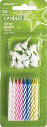 AMSCAN Świeczki kolorowe klasyczne z podstawkami - 24 szt. uniwersalny