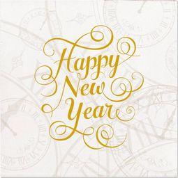 Folat Serwetki Happy New Year białe - 25 cm - 16 szt. uniwersalny
