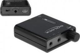 Wzmacniacz słuchawkowy Delock WZMACNIACZ SŁUCHAWKOWY MINIJACK 3.5MM(F)->2X MINIJACK 3.5MM(F) + MICRO USB(F) CZARNY + BASS DELOCK