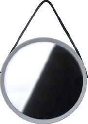 Home Styling Collection Lustro okrągłe na pasku 52cm szare z paskiem LOFT uniwersalny