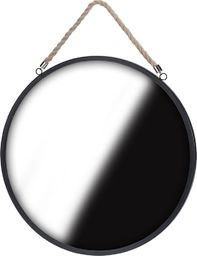 Home Styling Collection Lustro okrągłe na sznurku pasku 41cm czarne LOFT uniwersalny