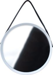 Home Styling Collection Lustro okrągłe na pasku 52cm białe z paskiem LOFT uniwersalny