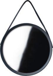 Home Styling Collection Lustro okrągłe na pasku 52cm czarne z paskiem LOFT uniwersalny