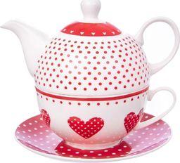 Orion Filiżanka z czajniczkiem do herbaty Kropki Serca 340ml  (127283)
