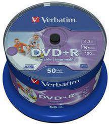 Verbatim Verbatim DVD+R 4.7 GB 16X Printable No Id Cake 50 szt (VDP1650+)
