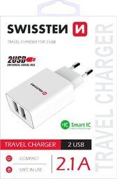 Ładowarka Swissten SWISSTEN, Sieciowy adapter, 100-240V, 5V, 2100mA, do ładowania telefonów i innych urządzeń, biały