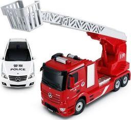 Rastar Mercedes-Benz Antos wóz strażacki i policyjny 1:24 RTR (zasilanie na baterie AA) - czerwony