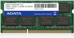 Pamięć do laptopa ADATA DDR3L SODIMM 4GB 1600MHz CL11 (ADDS1600W4G11-R)