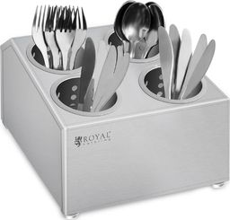 Royal Catering Pojemnik na sztućce z 4 wkładami na widelce łyżki noże ze stali nierdzewnej Royal Catering