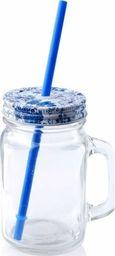 Affek Design Szklany słoik / kubek ze słomką pokrywką 450 ml uniwersalny