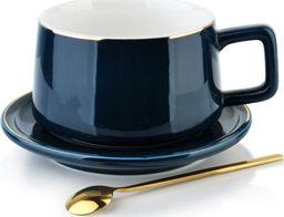 Affek Design Filiżanka Porcelanowa Granatowa do Kawy Herbaty ze Spodkiem 250ml uniwersalny
