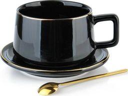 Affek Design Filiżanka Porcelanowa Czarna do Kawy Herbaty ze Spodkiem 250ml uniwersalny